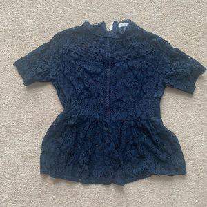 Navy High-neck Lace Peplum Top